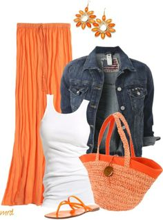 Denim jacket and maxi skirt.  LOVE the orange with the Denim jacket!  A great summer and vacay outfit.