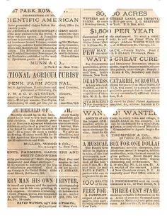 1869 advertisements ~ free printable gift tags