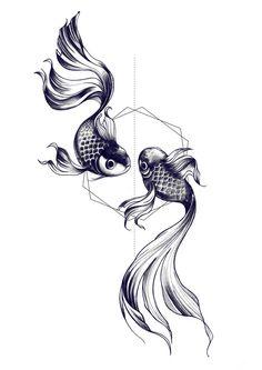 Fishes drawing by Miss Sita @ One O Nine barcelona  I love the geometric shape with a classic tattoo idea