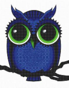 Cross Stitch Pattern Midnight Blue Owl with Big Eyes PDF