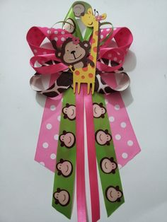 Girl Baby Shower Themes | Girl JUNGLE theme Monkey and Giraffe baby shower pin/corsage