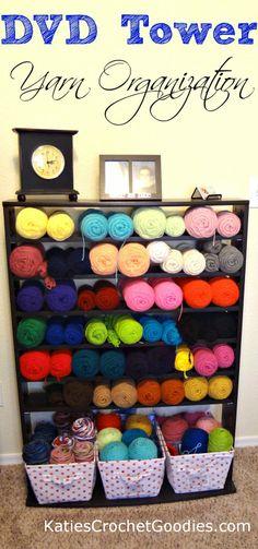 Genius...organize yarn using a DVD tower #yarnstorage #yarnorganization #yarn #crochet #knit