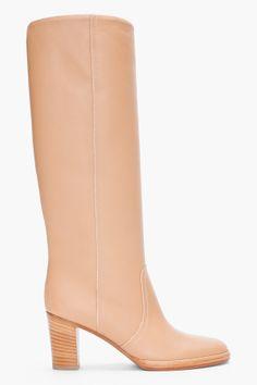 Beige Knee High Boots