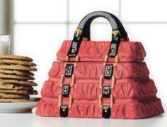 Handpainted Ceramic Red Purse Design Cookie Jar