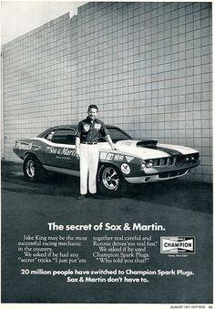 1971 Champion Spark Plugs Jake King Advertising Hot Rod Magazine August 1971