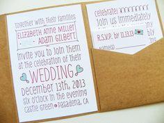 Pocketfold Wedding Invitations - Poster Doodles Signature Pocketfold Invitation Suite
