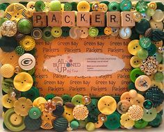 Green Bay Packer Button Picture Frame for by allbuttonedupbytina, $40.00