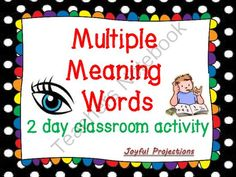 Multiple Meaning Words - 2 Day Activity from JoyfulProjections on TeachersNotebook.com -  (8 pages)  - Vocabulary Building, Dictionary Practice, and Cooperative Learning.  And my students love this activity!