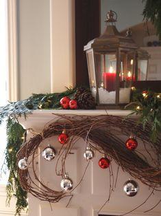 holiday, living rooms, grape vines, christmas fireplace, christmas lanterns, christma decor, mantel decorations, christmas mantles, christmas mantels