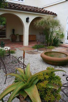 mediterranean homes, water featur, patio design, landscaping ideas, front yards, spanish style, landscape designs, garden, courtyard design