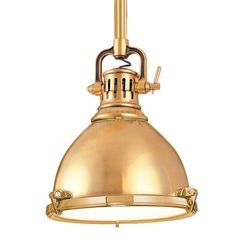 We love this solid brass mini pendant in a group of three over a kitchen island or table. | $536