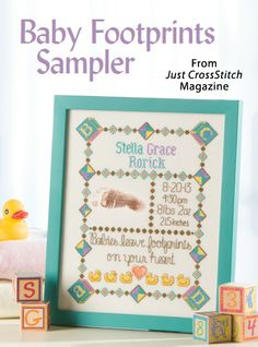 Baby Footprints Sampler from the May/Jun 2014 issue of Just CrossStitch Magazine. Order a digital copy here: http://www.anniescatalog.com/detail.html?code=AM53352