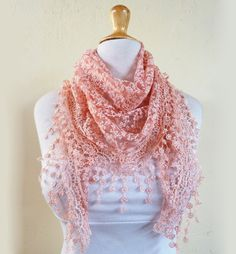 "Scarf ""Lilith"" in PEACH with floral pattern and rich lace edge - scarflette shawl neckwarmer - Spring / Summer"