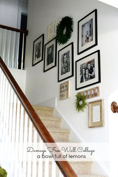 How to create an easy wall collage up your stairs via A Bowl Full of Lemons #damagefreediy #ad wall collage, stair wall, bowl full, lemon