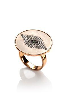 Ileana Makri Titan Evil Eye Ring in 18K Rose Gold - Moda Operandi