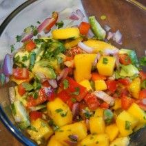 Mango Salsa. I'm dipping with mini peppers what are you dipping with? #DanielsFast