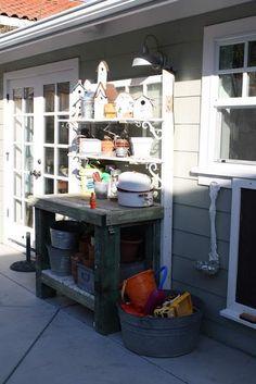 bench idea, pot tabl, pot bench, potting tables, potting benches, patio, garden idea, diy idea, outdoor idea