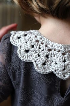 I like this #crochet collar. Crochet edging on projects is becoming more popular these days!