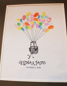 Make your special day extra special with our new Thumbprint Guestbooks. Have your guests sign into your ceremony by creating a fabulous bundle of balloons with their thumbprints. This is a great modern alternative to the traditional guestbook signing. Have guests sign in with only a thumbprint, thumbprint  initials, or thumbprint  name. After the wedding, frame the%2...