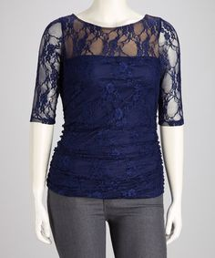 Take a look at this Navy Blue Sheer Lace Smitten Plus-Size Top by KIYONNA on #zulily today!