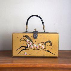 Vintage Wooden Box Purse Enid Collins-style Strawberry Roan. $74.00, via Etsy.