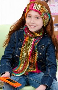 crocheted girls headband and scarf free printable pattern
