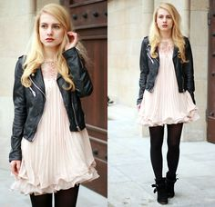 Pink Pleated Baby Doll Dress + Motorcycle Jacket + Black Opaque Tights + Black Suede Ankle Boots