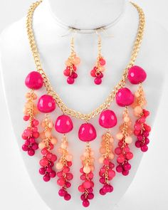 Gold Tone / Fuchsia Acrylic / Lead Compliant / Cluster Necklace & Fish Hook Earring Set bead necklac, cluster necklac, bib necklac, statement jewelri, statement necklac, jewelri jeweri