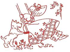 R 2372 Sunbonnet Girls & Scotty, Scottie Dogs for Tea Towels. A 1950s hand embroidery pattern.