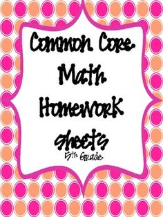 Common Core Math Homework Sheets for 5th grade