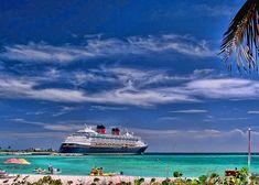 Disney cruise ship docked at Castaway Cay Disney's island