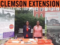Clemson Extension's Staff Development personnel Della Baker and Tareka Sartor shared Extension's centennial celebration with students and faculty who stopped by their booth at Clemson's EarthFest. #ClemsonExt100
