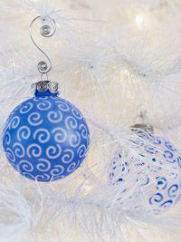 Frosty Blue Swirls Christmas Ornaments