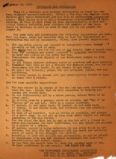Instructions For Riding An Integrated Bus from Martin Luther King, Jr.