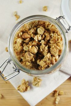 Peanut Butter Granola {with Honey-Roasted Peanuts} ... so easy to make at home!   www.thekitchenismyplayground.com    #granola #peanutbutter