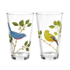 """Bird Pilsner Glasses, Set of 6 $34.50  So refreshing! Our Bird Pilsner Glasses feature two styles of popular birds printed on 14 oz. glasses. This six-piece Petals assortment includes three of each style.   Glass   5 3/4"""" x 3 1/8"""", 14 oz.   2 styles, equally assorted   6 pieces"""