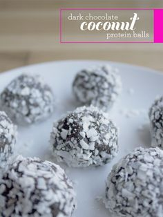 These dark chocolate coconut protein balls are so good! Lots of healthy ingredients: chia seeds, protein powder, cocoa powder, almond butter, coconut oil, and coconut.  | tinyinklings.com #vegan #raw #paleo