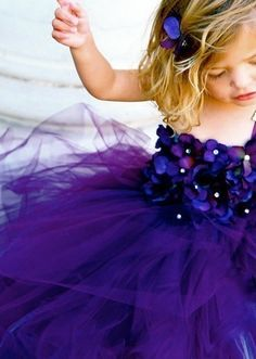 purple flowergirl tulle dress