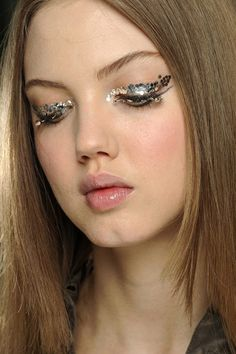 mini sequin eye makeup at chanel fall 2013  #eyemakep#models#photos#makeover##Blush#glossylips#lipstick#summerlooks##fashion#classic#cateye#mascara#promakeup