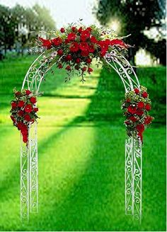 "With increased budget red Wedding ceremony arch flower d??cor... wedding ceremony flowers, pew flowers, wedding flowers, add pic source on comment and we will update it. <a href=""http://www.myfloweraffair.com"" rel=""nofollow"" target=""_blank"">www.myfloweraffai...</a> can create this beautiful wedding flower look."