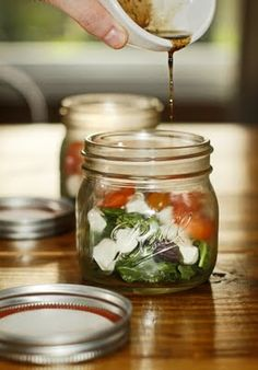 salad in a jar...cute idea for picnic or outdoor country party
