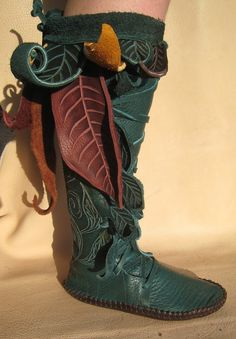 Knee High Journeying Moccasins in Teal by TreadLightGear on Etsy, $600.00