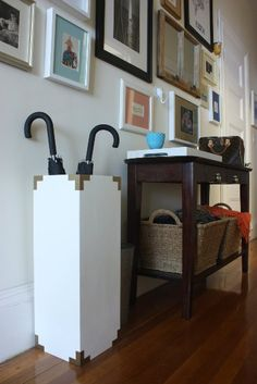 DIY brass corners umbrella stand