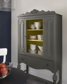 walls: polo blue (2062-10), walls & trim: moonlight white (OC-125), china unexpected color! cabinet inside: marblehead gold (HC-11), china cabinet outside: kendall charcoal (HC-166)