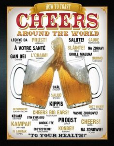 Cheers Heard Around the World Tin Sign, $8.95