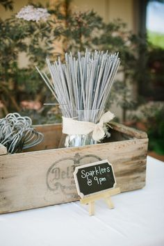 Country Wedding Sparklers Table