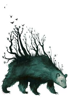 """Jenni Saarenkyla (www.etsy.com) Jenni,""""I got the idea for this illustration from the old stories about the bear in Finnish folklore. In the olden days the bear was the most sacred animal and some even believed that when the bear moved the forest moved with it""""."""
