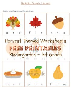 Harvest Themed Worksheets: Free Printables | The Happy Housewife
