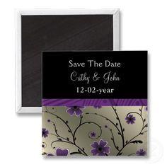 #savethedate #magnets #purple #wedding #violet #floral