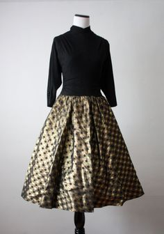 1940s gold and black dress